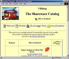 Screenshot of web page titled 'The Shareware Catalog'